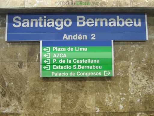 Santiago Bernabeu metro station sign at the platform