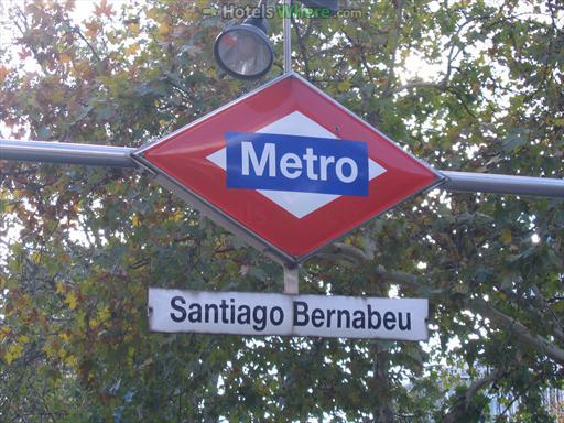 Santiago Bernabeu metro station sign at Plaza de Lima